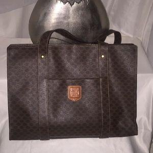 Authentic CELINE Tote Bag  Browns Macadam PVC